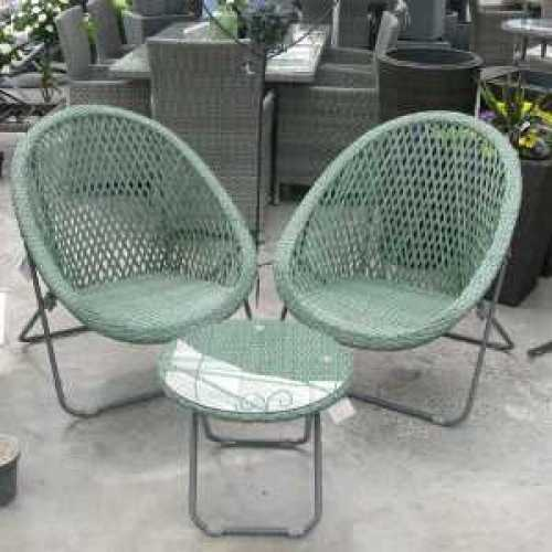 The Old Basket Supply (TOBS) Green Folding Faux Rattan Chair and Table Set - 24505