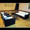 Luxury Sofa Set Wicker Frame - Black (Glass Top Table  2 Armchairs  1 Sofa)