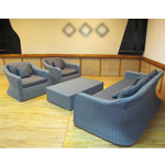 Luxury Sofa Set Wicker Frame - Grey (Glass Top Table  2 Armchairs  1 Sofa)