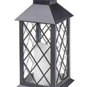 Cole & Bright Solar Traditional Candle Latern Black L23023